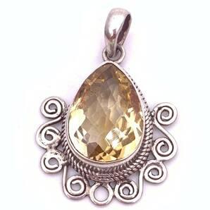 天然石シトリン(黄水晶)silver925トップ-0CT1