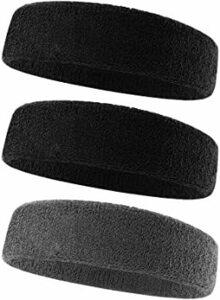 ③ブラック2枚 +グレー ヘアバンド ヘッドバンド 汗止め コットン素材 スポーツ用 通気性あり 伸縮性あり 柔らかい 男女兼用