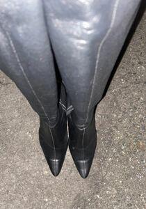 ロングブーツ ダイアナ ニーハイブーツ 黒 ピンヒール ブラック レザー ダンス用 ショーパブ ハイヒール