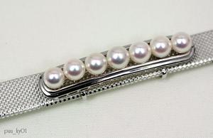 ◆真珠の珠家◆ SVアコヤ本真珠7珠付 帯留 /シンプルタイプ