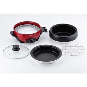 送料無料 電気グリル鍋 ミニグリルパン ホットプレート 2~3人用 丸洗いOkの鍋と焼き物プレート アビテラックス/APN18G-R/6283