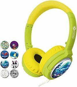 yellow Skyaudio キッズヘッドホン 密閉型 子供用ヘッドフォン DIY 85dB音量リミット制御 3.5mmステレ