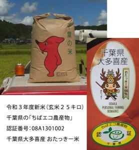 令和3年度米★千葉エコ農産物認定★ヒメノモチ玄米25kg おたっきー米 千葉県大多喜町産