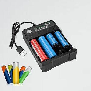 新品 未使用 リチウムイオン3.7V USB電池充電器 G-6BA(RCR123A) 充電器 充電池対応 USB出力機能付き4本同時充電可能 Li-ion Ni-MH