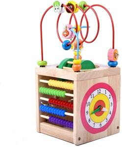 ビーズコースター 知育玩具 木製 積み木 立体パズル 型はめ 多機能