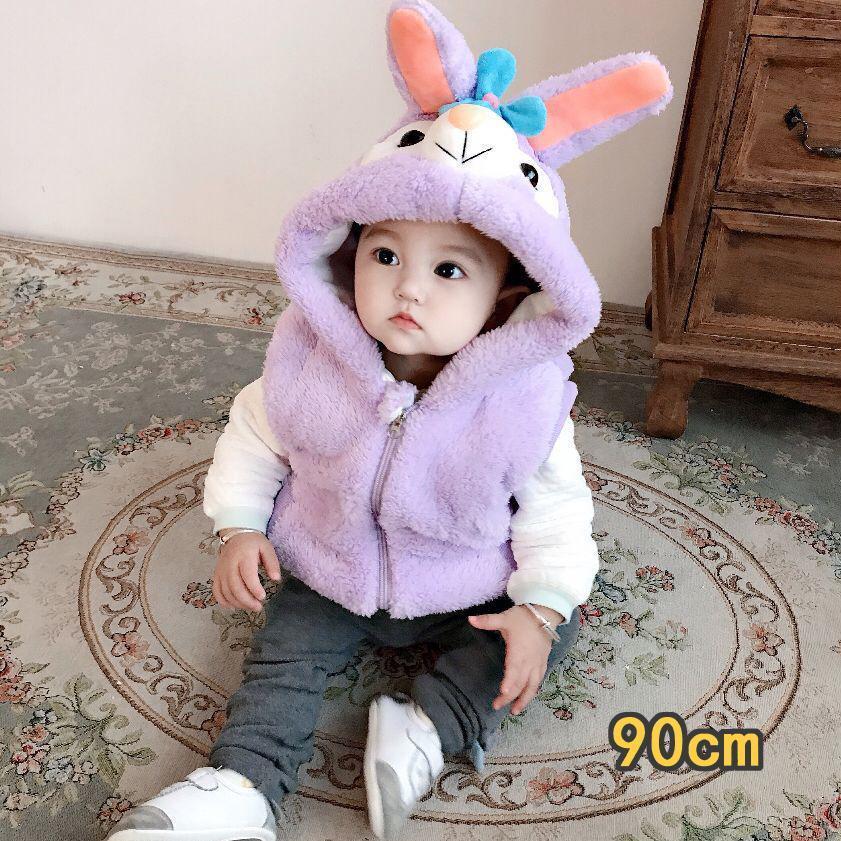もこもこ ベビーベスト 着ぐるみ ロンパース 厚手 出産 紫 90cm