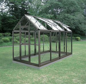 アルミ製ガラス温室B-2型 間口1800×桁行3576×高さ2372mm2.0坪 アンカー固定式 ガラス付き 3段階調整可能な天窓 家庭用温室 DIY 送料無料