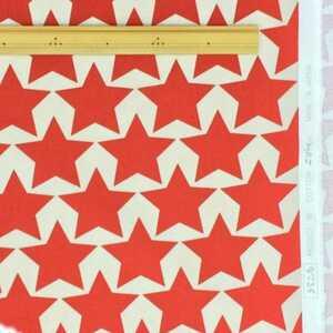 コットンこばやし 星 大きな星 10番キャンバス 赤×オフホワイト ビッグスター bigstar はぎれ カットクロス 生地幅110×100㌢