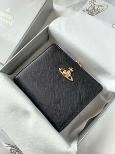 【新品未使用】ヴィヴィアンウエストウッド二つ折りがま口財布 ブラック 黒 Vivienne Westwood