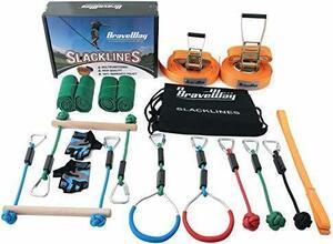 新品BRAVEWAY スラックライン セット 遊具 スポーツ練習 フィットネス バランス 体幹 トレーニング アウトI69J