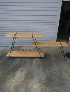 アイアンラック キャンプ アウトドア 多肉植物 鉄脚 ガーデニング 棚 BBQ 作業台 アイアンテーブル