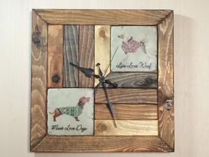 【Free Shipping】 Having clock placement clock Antique clock Antique tile dog tile handmade 1 point item 023