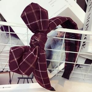 リボンカチューシャ チェック柄☆紫赤