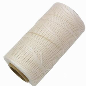 新品◆レザークラフト 蝋引き糸 手縫い 平紐 260m ◆ホワイト