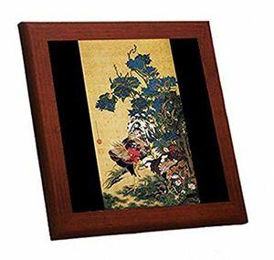 伊藤若冲『 紫陽花双鶏図 』の木枠付きフォトタイル