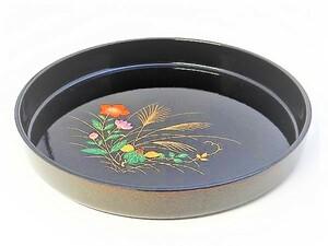 送料無料 漆器 寿司トレ― オードブル パーティーお盆 丸盆 トレ―30cm