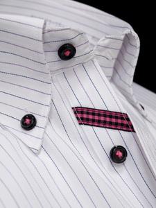 ◇M/39-82白*紫灰ストライプ/ボタンダウンスリムシャツ/形態安定/長袖ビジネスワイシャツ新品即決