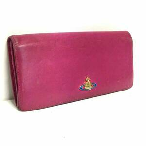 正規品 Vivienne Westwood ビンテージ レザー 長財布 ウォレット ピンク ヴィヴィアン ウエストウッド オーブ 送料無料