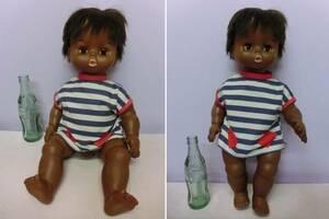 昭和レトロ 赤ちゃん 人形 ビンテージ ベビー BIG50cm◆スリーピングアイ 眠り目 クロンボ くろんぼ 黒人 vintage baby doll figure