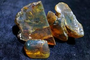 限定!上質35g/178ct3個setミャンマー産ブルーアンバー琥珀原石