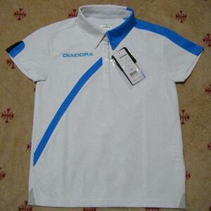 ディアドラ DIADORA テニス用高機能ゲームシャツ・ポロシャツ 白色 サイズ M メッシュ素材 吸汗速乾/ストレッチ/UV機能 定価 5,280円