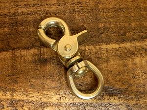 レバー ナスカン 真鍮 無垢 ブラス 12mm レザー ベルト 革 1.2cm フック カスタム キーホルダー レザークラフトに
