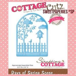 ダイ★ Cottage Cutz コテージカッツ Days of Spring Scene スプリング 春 小鳥 巣箱 雲 木 スクラップブッキング カッティングダイ