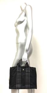 二点落札で送料無料! H6 フランス製 HERMES エルメス ミニ トート バッグ フールトゥ PM 黒 グレー ブラック かばん キャンバス