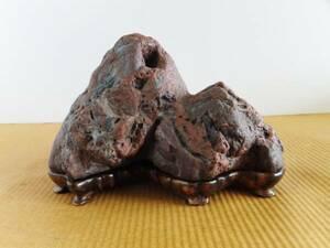 水石関連・鑑賞石 ★ 紅幸太郎石 ★なかなか魅力的な形状山形。小さめ中品。合わせ箱有り。