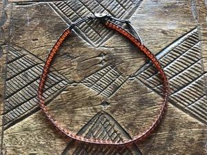 メノウ(瑪瑙) ビーズ編み込み紐チョーカー ヴィンテージ 男女兼用