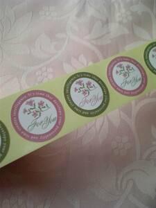 ☆ギフトシール☆ ピンク&グリーンのお花 2種類  100枚