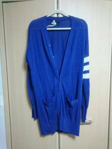 Y-3 ワイスリー スリーライン ストライプ ロングカーディガン ヨウジヤマモト adidas originals ブルー 青 Mサイズ フリー クリーニング済