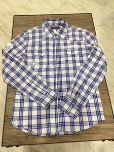 メンズチェックシャツ エドハーディー ブルー イーグル&ロゴ L・XLサイズ
