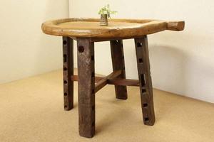『癒し』アンティーク*チーク古木自然杢*オールドチーク*飾り机*花台◇一枚板丸形木鉢テーブル