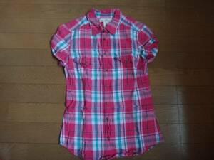H&M ピンク系 チェック 半袖 シャツ サイズ32 袖ロールアップ
