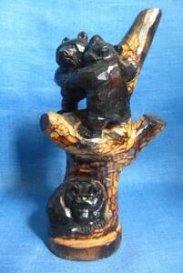 木登り熊 親子熊 木彫り