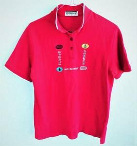即決、Munsingwearマンシングウエア グランドスラム、ペンギンロゴ刺繍入り 半袖ポロシャツ/メンズM赤/ユニセックス/デサント日本製