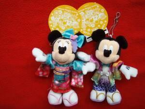 ディズニーリゾート◆2015年 お正月 ミッキー&ミニー ぬいぐるみバッジ セット/新品、未使用品/和装・着物/ぬいば
