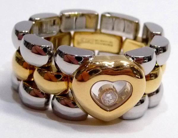 ショパール ハッピーダイヤモンド 中古良品 リング 約16号 重量:14.19g K18 指輪 幅:10mm