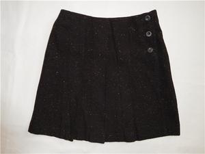 §117 美品*BEAMS BOY/ビームス★プリーツデザイン ウール 巻きスカート 0