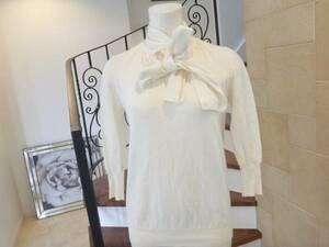 2.5万NOVESPAZIOノーベスパジオ 白ホワイト リボン  セーター カシミヤ混38 m