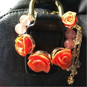 オレンジの薔薇とチェリークォーツのバッグチャーム
