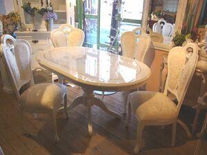 *新品*イタリア製*サルタレッリ社*ダイニングテーブルセット*白家具*鏡面*ホワイト*