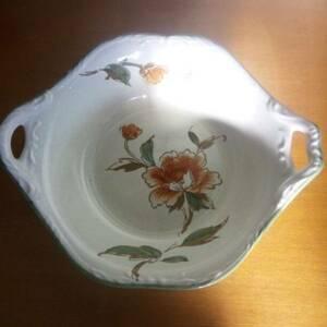 昭和レトロ■三郷陶器 レトロポップ 花柄 深型鉢(大鉢 サラダボール)