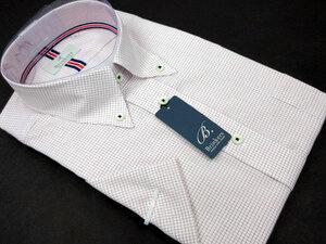 【新品】M-40 Brinkers 綿100% 形態安定 半袖シャツ ボタンダウン チェック柄 貝ボタン ホワイト×レッド