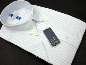 【新品】M-39 Brinkers 綿100% 形態安定 半袖シャツ ボタンダウン ストライプ 貝ボタン ホワイト×ブルー×イエロー