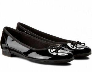 送料無料 Clarks 26cm フラット パテント レザー ブラック 黒 バレエ シューズ ローファー ロー クラシック パンプス ブーツ サンダル 802