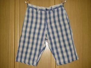 FOB 紺 ネイビー チェック ショートパンツ ハーフパンツ ショート チェックパンツ チノパン パンツ M ( S