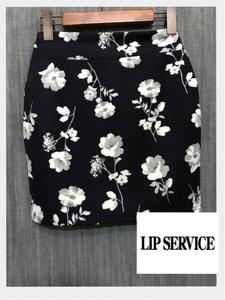 ★LIP SERVICE リップサービス 花柄ミニスカート 03 濃紺 新品 定価5500円