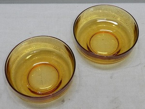 ●昭和レトロ モダン アンバーガラス 鉢 サラダボウル 2個●洋食器 ガラス鉢 小鉢 ボール デザート皿 アイスカップ